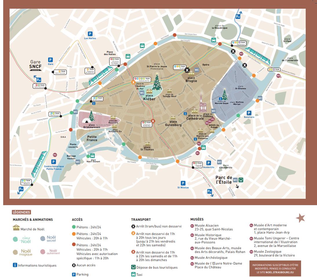 Le plan et les infos pratiques de la 448è édition du Marché de Noël de Strasbourg du 23 novembre au 30 décembre 2018. (cliquez sur le plan pour agrandir / Document Ville de Strasbourg et Office de Tourisme)