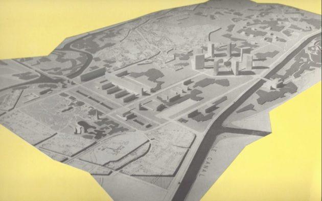 L'immense esplanade imaginée à la Robertsau part de l'Orangerie, en bas de la maquette, jusqu'à l'entrée du quartier actuel (Source Archi-wiki / Archives de la Ville de Strasbourg)