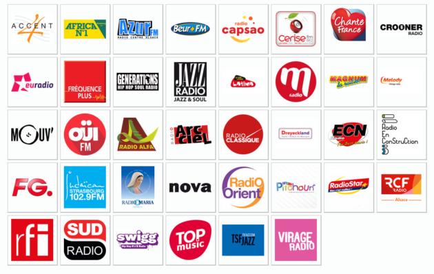 Les radios disponibles en DAB+ à Strasbourg le 5 décembre (doc dabplus.fr)