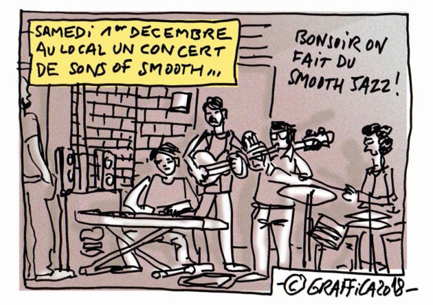 The Sons of Smooth, un groupe à suivre et qui était au Local samedi (Dessin Pascal Richert)