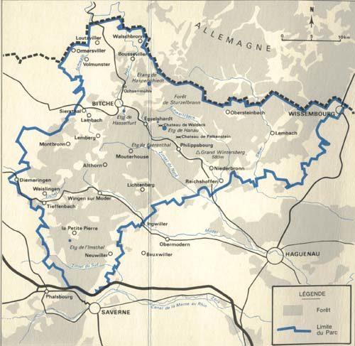 La carte du parc régional des Vosges du Nord. Près de Reichshoffen au sud-est, Niederbronn est à sa lisière.