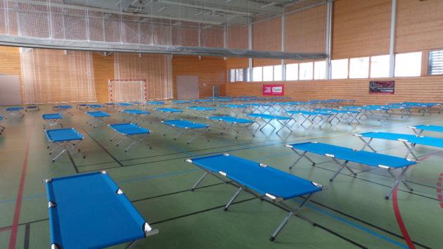Lors d'une précédente crise de l'hébergement d'urgence, la Ville avait réquisitionné le gymnase du Heyritz (Photo PF / Rue89 Strasbourg / cc)