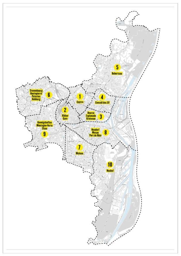 Les quartiers officiels et leur délimitation de la Ville de Strasbourg