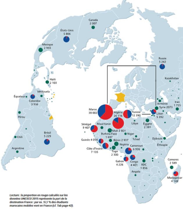 Carte établie par Campus France sur l'origine des étudiants étrangers.