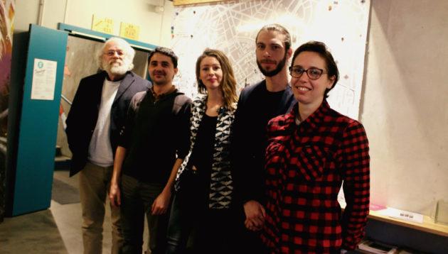 De gauche à droite : Jean-Marie Brom, Kevin Loquais, Lydie Bichet, Adrien Fend et Marguerite Fay (photo JFG / Rue89 Strasbourg)