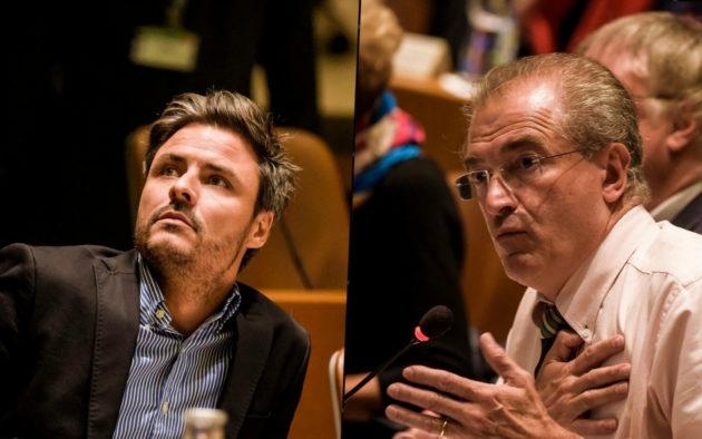 """Jean-Phillipe Vetter (à gauche) et Jean-Philippe Maurer (à droite), les deux premiers candidats pour """"Les Républicains"""" aux municipales de 2020 à Strasbourg. (Photos Pascal Bastien)"""