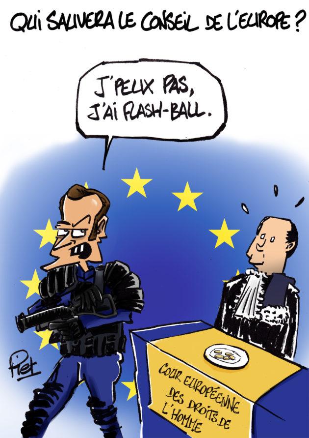 Dessin Emmanuel Macron Consei de l'Europe