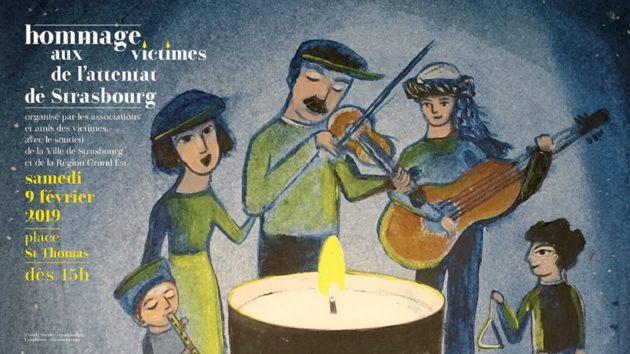 Affiche de l'hommage aux victimes de l'attentat de Strasbourg réalisée par Sherley Freudenreich.