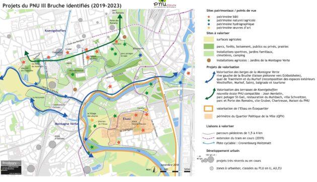 Plan des projets du PNU à l'ouest de Strasbourg pour 2019-2023 (Cliquez pour agrandir - document Ville de Strasbourg)