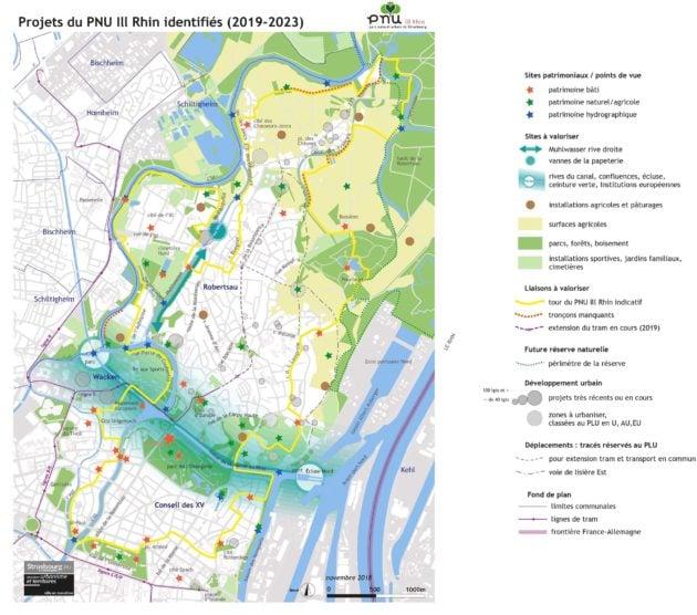 Le deuxième PNU Strasbourgeois et ses projets Plan des projets du PNU à l'ouest de Strasbourg pour 2019-2023 (Cliquez pour agrandir - document Ville de Strasbourg)