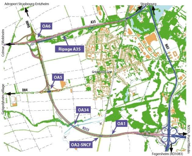Plan de situation des travaux en cours de la rocade sud (carte Dreal / doc remis)