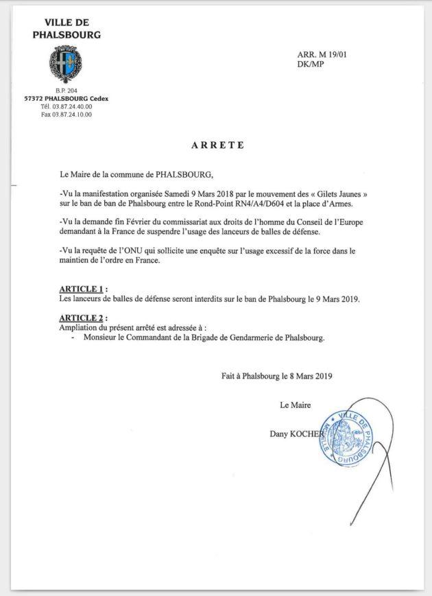 L'arrêté anti-LBD de la commune de Phalsbourg (doc remis)