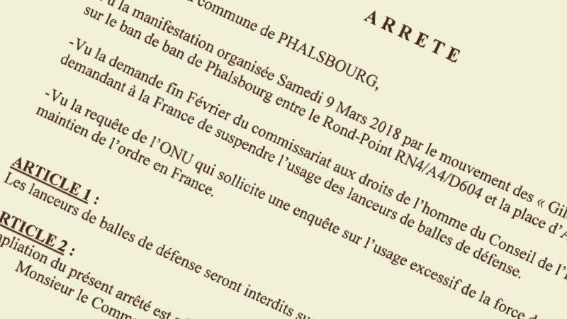Le maire de Phalsbourg prend un arrêté interdisant les lanceurs de balles de défense