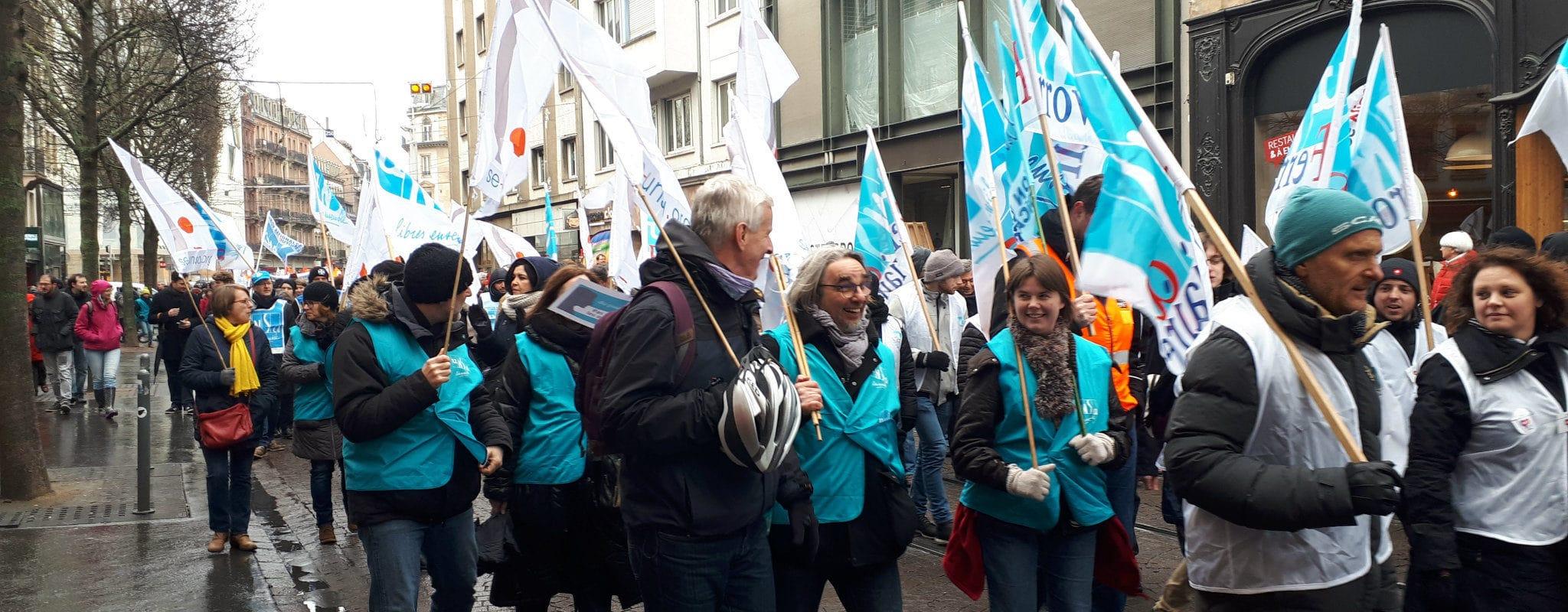Le 30 mars, les enseignants manifestent à Strasbourg contre la réforme Blanquer