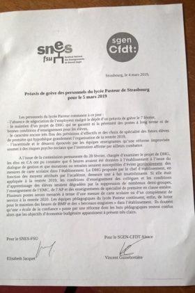 Le tract du SNES et de la CFDT à propos du lycée Pasteur (doc remis)