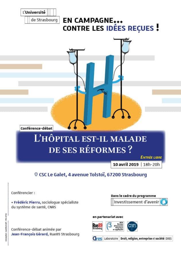 Venez poser vos questions sur l'hôpital et ses réformes mercredi 10 avril (affiche Unistra)