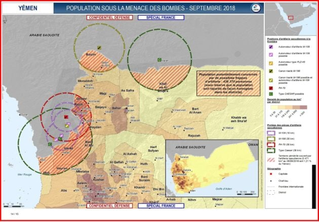 La carte de la DRM qui indique que des populations sont concernées par les tirs des armes françaises (document Disclose)