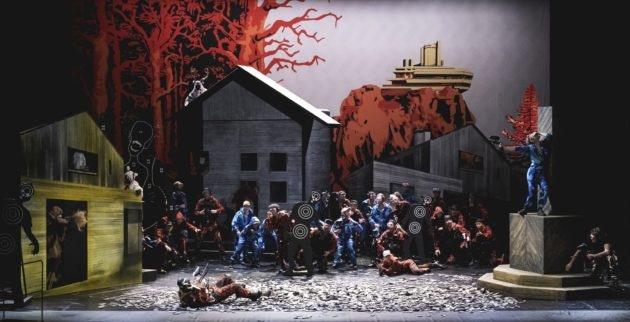 La foule des paysans en ovuerture de l'opéra Der Freischütz