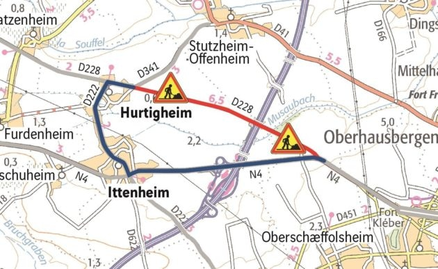 Une déviation par Ittenheim sera nécessaire pour rejoindre la N4 (doc remis / Arcos)