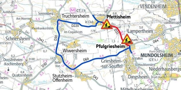 Une déviation est mise en place entre Pfettisheim et Pfulgriesheim (doc remis Arcos)