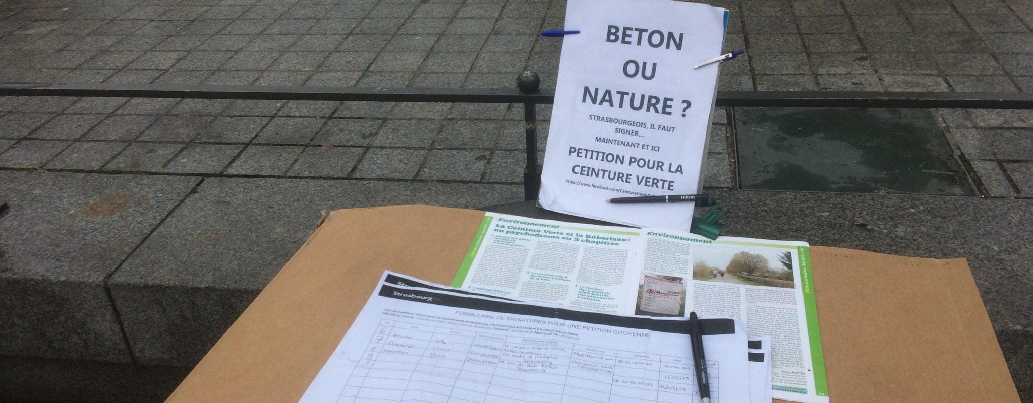 La formule de la première pétition à succès, pour la Ceinture verte