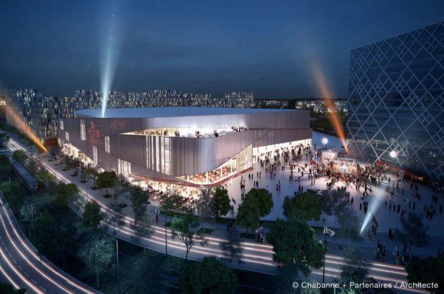 Le crédit mutuel forum de nuit. Le bâtiment de droite sera une tour de bureaux pour le Crédit mutuel. Les deux chantiers ont été confiés à Vinci. (Chabanne + Partenaires