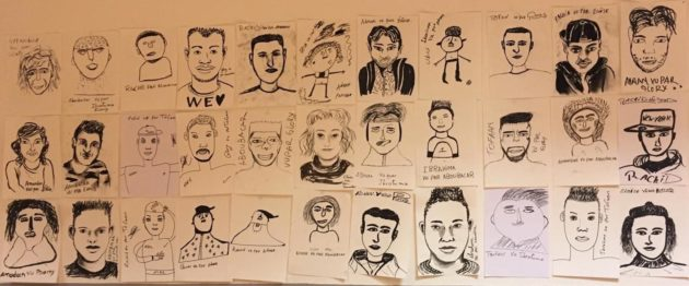 Les réfugiés du centre Bernanos ont réalisé des portraits à l'occasion d'ateliers de dessin. Ils seront exposés au Troc'afé le 18 mai.