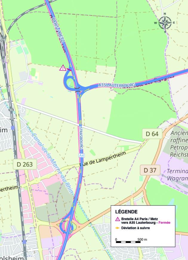 Travaux de trois mois en 2019 en venant de Paris/Metz (A4) vers Lauterbourg au nord (A35)