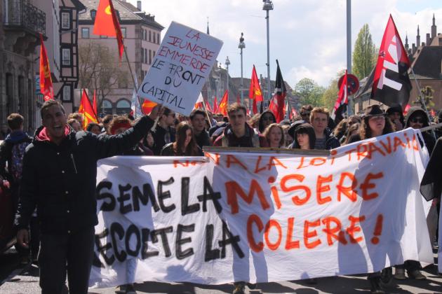 En avril 2016, les cortèges contre la Loi Travail avaient mobilisé plusieurs milliers de personnes (Photo Rue89 Strasbourg / cc)