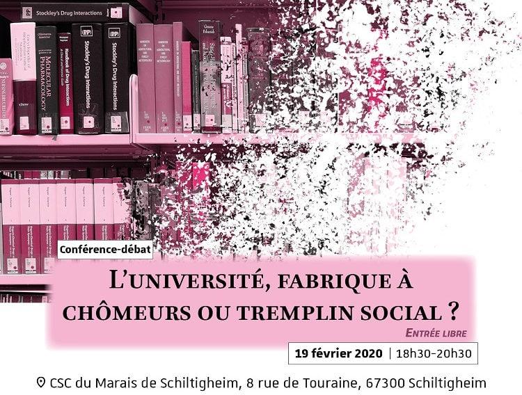 L'Université fabrique à chômeurs ou tremplin social? Mercredi soir au CSC du Marais