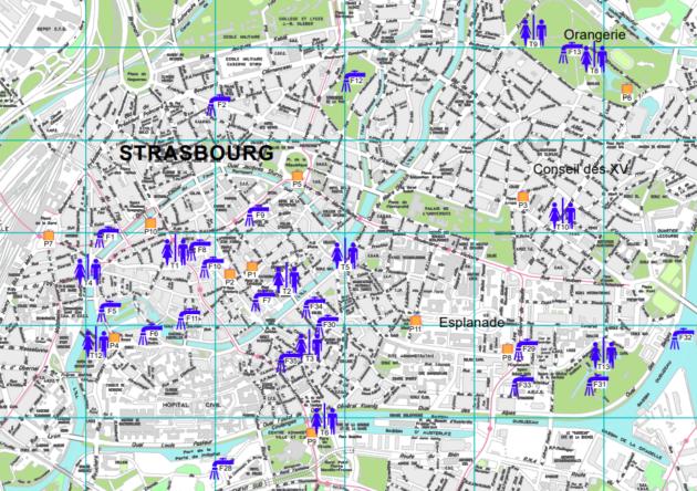 Carte des points d'eau en libre service à Strasbourg, cliquez pour accéder au document original (doc Strasbourg.eu)