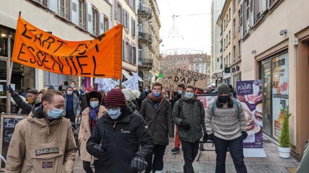 Image d'une manifestation des acteurs de la culture