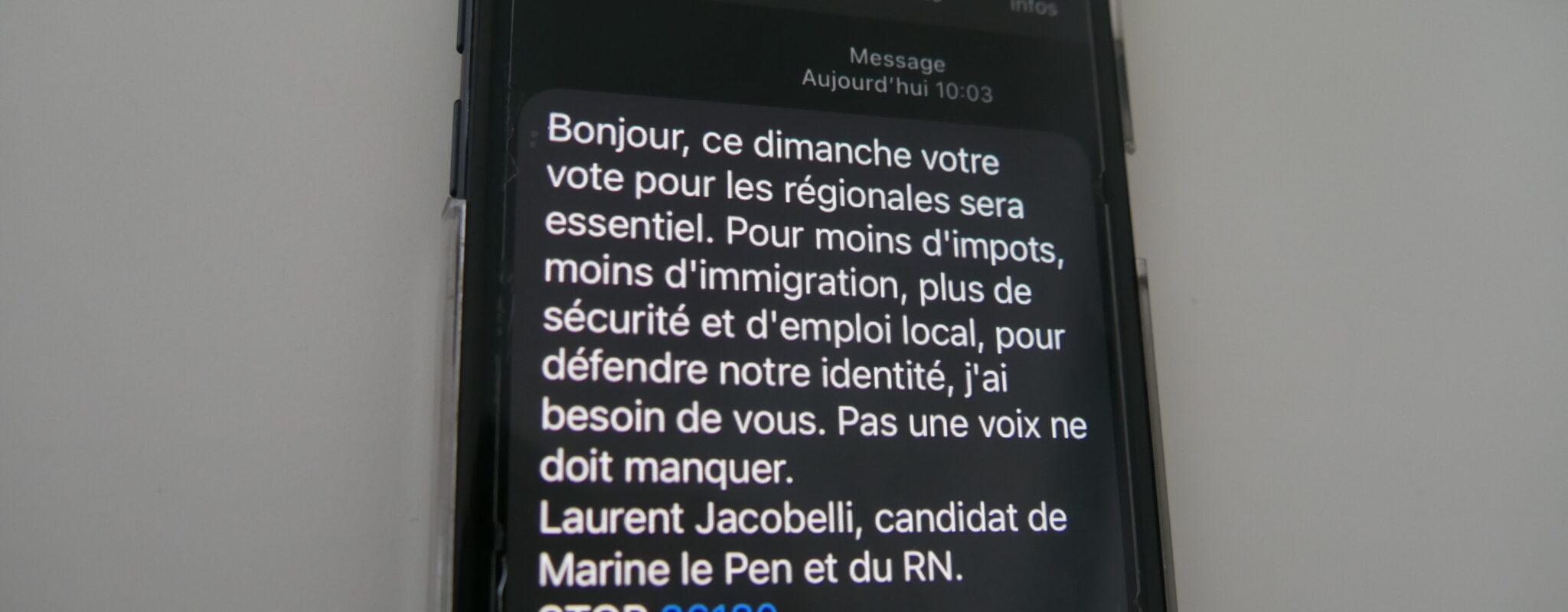 Elections régionales: «J'ai reçu un texto du RN. Comment ont-ils trouvé mon numéro?»